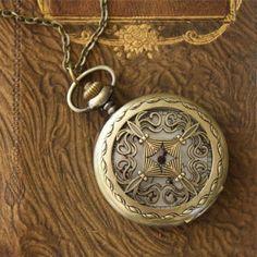 Gorgeous vintage clock necklace