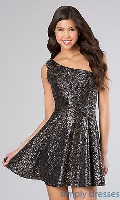 Shop for one-shoulder glitter party dresses under $50 at Simply Dresses. Wear glittery budget dresses to prom, semi formal dances and weddings.