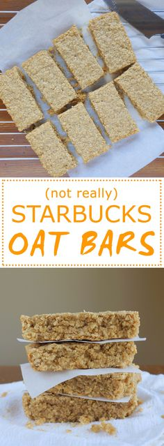 (Not Really) Starbucks Oat Bars These chewy, buttery bars are a copycat of the popular Starbucks treat. - (Not Really) Starbucks Oat Bars Healthy Vegan Dessert, Healthy Drinks, Healthy Food, Oatmeal Bars Healthy, Baked Oatmeal Bars, Healthy Recipes, Banana Oatmeal Bars, Vegan Granola Bars, Oatmeal Squares