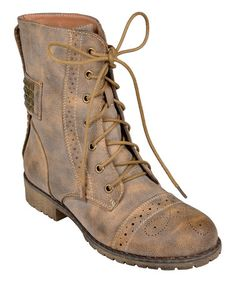 Another great find on #zulily! Taupe Stud Lace-Up Darva Boot #zulilyfinds