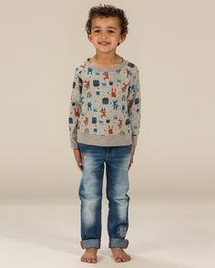 Our crew neck magical fox and friendly owl print sweat top for boys.  All-over animal print Crew neck with soft rib Grey marl loop back lightweight sweatshirt fabric 100% Superfine Cotton Long-sleeves