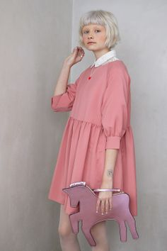 Button Cuff Angel Dress Pink Long Sleeve Crop Shirt White Unicorn Clutch Bag Pink  Shop THE WHITEPEPPER Winter Wonderland Lookbook now! http://www.thewhitepepper.com/collections/dresses/products/button-cuff-angel-dress-pink