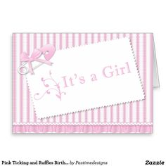 Pink Ticking and Ruffles Birth Announcement Stationery Note Card