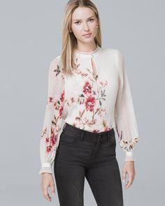 3dc5bd454d92b8 Women s Floral-Print Pleated Blouse by White House Black Market Petite  Shorts