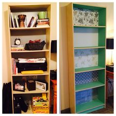Ikea Bookshelf Paint and Contact Paper Project *contact paper, tissue paper, and wrapping paper attached using mod podge*