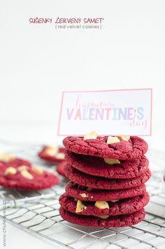 "sušenky ""červený samet"" Red Velvet Cookies, Crinkles, Raspberry, Valentines, Fruit, Food, Author, Valentine's Day Diy, Valentines Day"