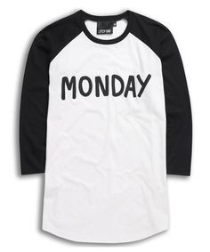 LAZY OAF MONDAY BASEBALL T-SHIRT    £40.00     A 3/4 length sleeved baseball style t-shirt constructed out of 100% cotton.    White body contrasted with black raglan style sleeves.