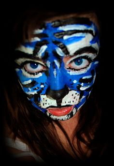 Blue Tiger Face Painting Design