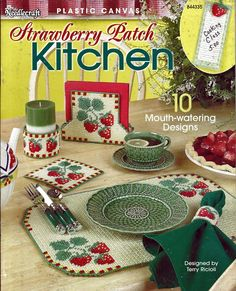 Strawberry Patch Kitchen Plastic Canvas Pattern Book The Needlecraft Shop 844335 Plastic Canvas Tissue Boxes, Plastic Canvas Crafts, Plastic Canvas Patterns, Kitchen Canvas, Box Patterns, Stitch Patterns, Strawberry Patch, Tissue Box Covers, Pattern Books