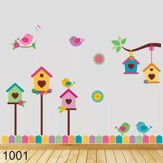 casitas con pajaritos vinilo decorativo