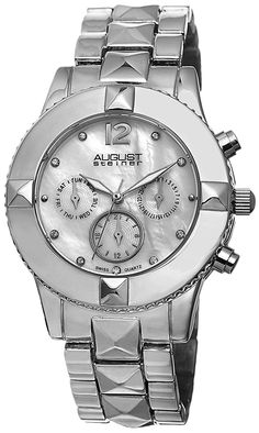 August Steiner Women's AS8107SS Swiss Quartz Multifunction Crystal Mother-of-Pearl Silver-tone Pyramid Bracelet Watch >>> Don't get left behind, see this great  product (This is an amazon affiliate link. I may earn commission from it)