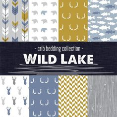 The Wild Lake Crib Bedding Set NOTE: Since all of the designs are printed on fabrics with natural fibers the printing process is not capable of