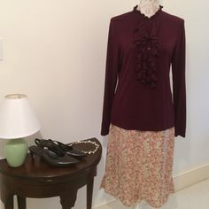 Brand New Ralph Lauren Top Brand new Ralph Lauren Top - long sleeves - maroon - 97% Rayon - 3% Elastane - Beading on ruffles - Wear with anything - dress up or down Ralph Lauren Tops Blouses