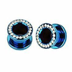 Pair (2) Blue Titanium Ear Plugs w/Clear CZ Gems Rim Screw Fit Tunnels - 00G 10MM BYB Plugs. $14.99. Metal: Titanium Anodized. Size: 00G (10MM). Screw Fit Plugs. Clear Gemmed Rim. Save 57%!