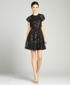 Andrew Marc : black sequined serpent lace flutter sleeve cocktail dress : style # 325844601