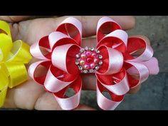 Diy Bow, Diy Ribbon, Ribbon Crafts, Ribbon Bows, Ribbon Flower Tutorial, Hair Bow Tutorial, Kids Hair Bows, Girls Bows, Bow Pattern