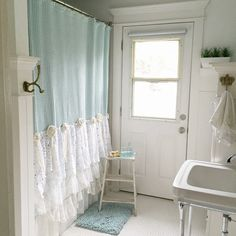 Bohemian Lace Ruffle Shower Curtain Aqua Blue Girls Shabby Chic Bathroom - Hallstrom Home - 1