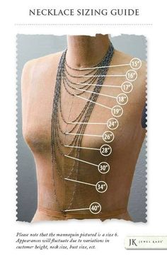 ❥ #jewelrydesign | jewelry making chain sizes for necklaces