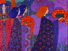 Vittorio Zecchin, Corteo delle principesse (panel from One Thousand and One Nights), 1914, Oil and stucco on canvas, 171 × 143 cm, Venezia.