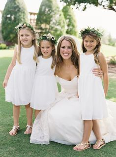 A bride and her flower girls: http://www.stylemepretty.com/2015/01/30/naturally-elegant-midwestern-wedding/ | Photography: Brett Heidebrecht - http://www.brettheidebrecht.com/