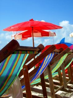 beach chairs & umbrellas...