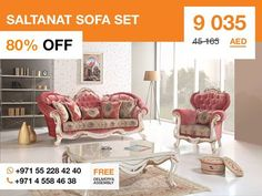 Place this timeless set in a seating area to create a great focal point. This sofa set is one that is very popular due to its light and colorful modern Victorian design and use for many years to come. More details: http://gtfshop.com/saltanat-sofa-set
