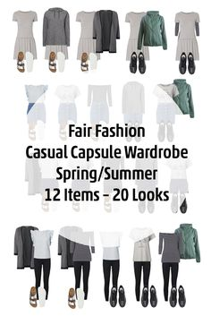 Fair Fashion // 12 Items – 20 Looks/Outfits Casual Capsule Wardrobe for Spring and Summer