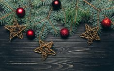 Download wallpapers Christmas tree, wooden gray background, 2018, iron stars, New Year, red Christmas balls