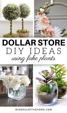 14 Amazing DIY Ideas Using Fake Plants From The Dollar Store Mindful of the Home is part of Diy dollar tree decor - Featuring some of the best DIY ideas using fake plants from the Dollar Store From wreaths to terrariums to simple displays, and Fake Flowers Decor, Fake Plants Decor, Plant Decor, Flower Decorations, Diy Flowers, Fake Flower Arrangements, Decorating With Fake Plants, Cheap Fake Plants, Home Flowers