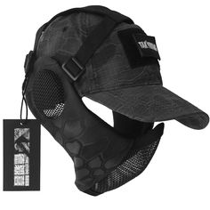 NO B Tactical Foldable Mesh Mask with Ear Protection for Airsoft Paintball with Adjustable Baseball Cap (Camouflage) Tactical T Shirts, Tactical Wear, Tactical Clothing, Airsoft Mesh Mask, Airsoft Gear, Mode Sombre, Ear Protection, Armor Concept, Body Armor