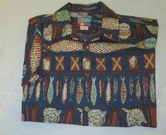 JOE KEALOHA'S  Hawaiian Shirt Sz  M Medium  - Blue - Shells Fish - Made In USA #JoeKealohas #Hawaiian