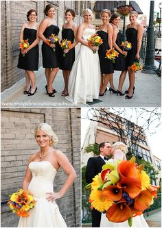 These orange, yellow and blue bouquets are perfect for a summer wedding and really pop against the strapless black bridesmaids dresses.