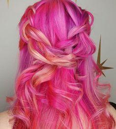 bright pink & orange