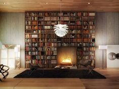 (40 Home Library Design Ideas For a Remarkable Interior) Living on the edge - bookcase with a fireplace