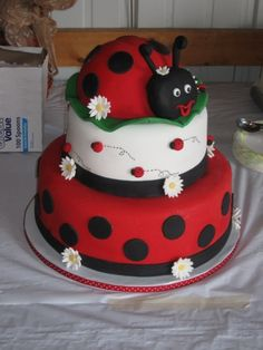 3 Tier Ladybug Cake By laceyhudepohl on CakeCentral.com