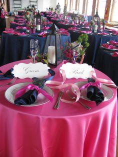 Navy and Fuchsia wedding reception
