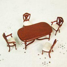 "Hansson Dollhouse Miniature 1/2"" scale -Walnut Dining room set"