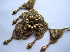 Vintage Necklace  Stunning Antique Brass by VintageInBloom on Etsy, $120.00