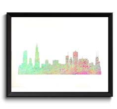 Printable Chicago Art - Chicago Illinois Art, State Art, Watercolor Chicago Art, Chicago Skyline Art, Cityscape Watercolor Art by WatercolorArtHut on Etsy