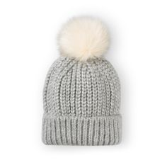 Shake your pom poms! There's nothing like a pom pom knitted hat to get you in the mood for colder weather. The Grey Knitted Rib Beanie comes in a chunky knit and tipped with a cream fluffy pom pom. Winter Wear, Winter Hats, Oliver Bonas, Aw17, Cold Weather, Knitted Hats, Beanie, Knitting, Grey