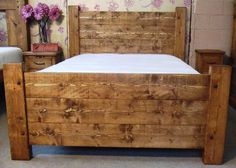 Wonderful Large Size Wooden Unfinished Rustic Bed With White Cover Beds As Well As Antique Bedside Nightstands In Small Master Bedroom Ideas