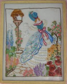 Vintage - CRINOLINE LADY & DOVES (Southern Belle) Hand Embroidered in English Style Cottage Garden - Picture Framed under glass