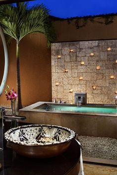 Banyan Tree Mayakoba - Playa del Carmen, Mexico - Bathrooms are open suites, with painted ceramic sinks and access to the outdoor soaking tub.