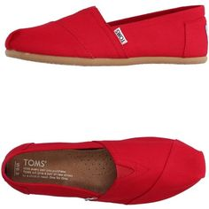 Toms Low-tops & Sneakers ($45) ❤ liked on Polyvore featuring shoes, sneakers, red, red trainers, red sneakers, textile shoes, toms footwear and toms shoes