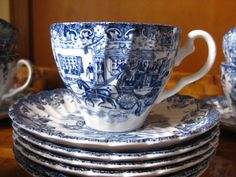 Blue and White China Teacup and Saucer  by MoseleyAndStokes, $9.95