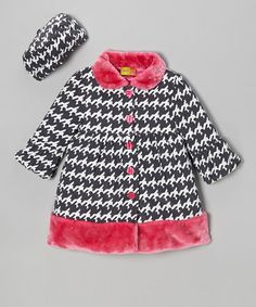 Gray Houndstooth Coat & Hat - Infant, Toddler & Girl by Penelope Mack on #zulily today!