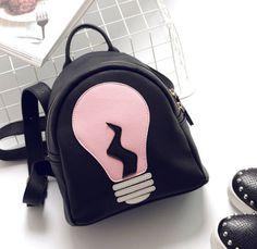 Ucuz Kişiselleştirilmiş ampul baskı sırt çantası mini siyah sırt çantası okul…