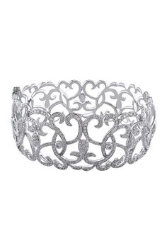 14K White Gold Pave Diamond Filigree Bangle - 4.33 ctw