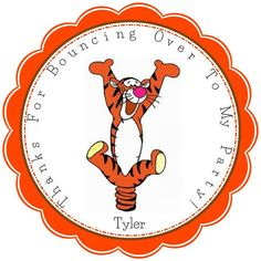 Bouncin Tigger Personalized Stickers - Party Favors - Birthday Stickers - Gift Tag - Choice Of Size And Color  (187) on Etsy, $5.00