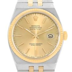 Rolex Oysterquartz Datejust Steel 18K Yellow Gold Mens Watch 17013